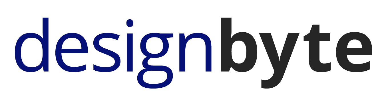 Design Byte logo, with design in a dark blue regular font and byte in a dark gray and bold font
